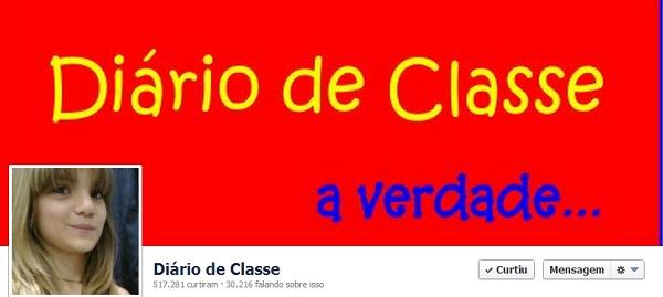Screenshot da página Diário de Classe no Facebook.
