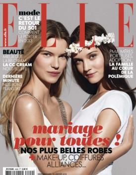 """Capa da revista Elle francesa de janeiro de 2013. O editoral da revista deixa claro o apoio ao projeto """"Mariage Pour Tout""""."""