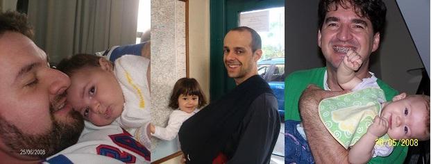 Da esquerda para direita: Fabiano e Isa. Marcelo e Laura. Ulisses e Amanda. Fotos: Arquivo Pessoal.