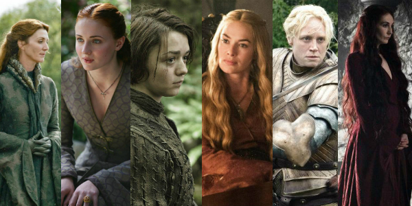 As personagens Catelyn, Sansa, Arya, Cersei, Brienne e Melisandre. Fotos: Helen Sloan / HBO.