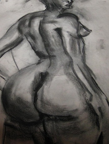"""""""Nude Buttocks"""" desenho em carvão de Carole Jonhson."""