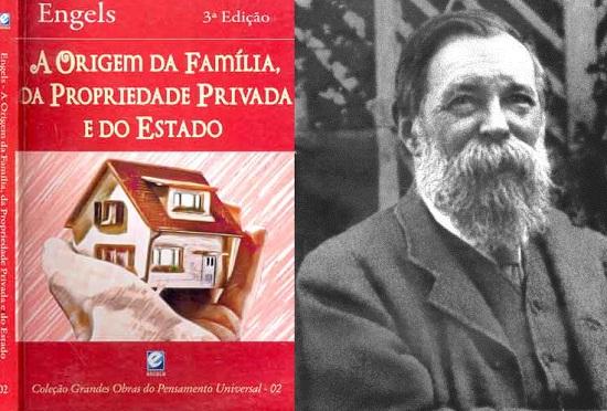 Edição do livro usada pela autora e uma foto do autor Friedrich Engels.