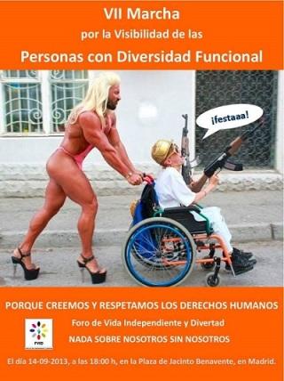 Cartaz da VII Marcha Pela Visibilidade das Pessoas com Diversidade Funcional em Madrid, Espanha.