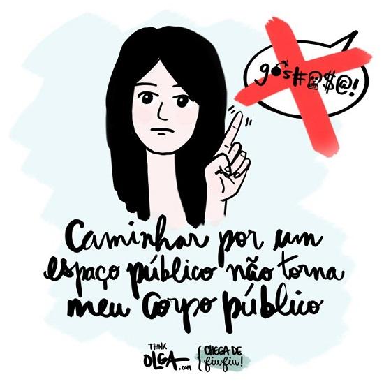 """Ilustração de Gabriela Shigihara divulgada pela campanha """"Chega de fiu-fiu"""" do site Think Olga."""