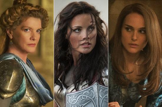 Da esquerda para direita: Frigga (Rene Russo), Sif (Jaimie Alexander) e Jane Foster (Natalie Portman).