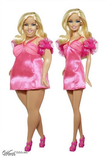 Barbie Plus Size, criada em 2011 pelo artista Bakalia para o worth1000.com, um site onde há concursos diários de criação de imagens.