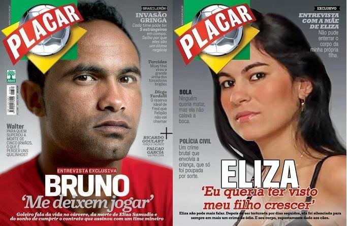 A esquerda, capa da Revista Placar, edição abril/2014. A direita, uma resposta feita por Cyntia Mesquita Beltrao e Rosiane Pacheco, divulgada por vários grupos feministas na rede.