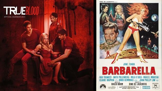 À esquerda, imagem de divulgação da 3° temporada da série True Blood com Sookie (Anna Paquim) ao centro. À direita, cartaz de divulgação do filme Barbarella (1968).