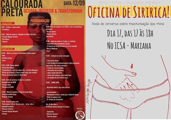 À esquerda, cartaz com a programação da I Calourada Preta. À direita, cartaz da Oficina de Siririca.