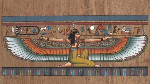 Representação de Maat, deusa egípcia da verdade.