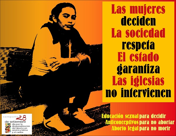 Cartaz de campanha pela legalização e despenalização do aborto na América Latina. Fonte: Indymedia.