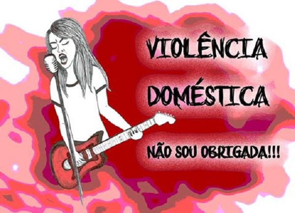 """Campanha do coletivo Roque Pense!, """"Violência Doméstica: Não sou obrigada!""""."""