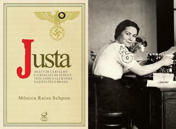 À esquerda, capa do livro 'Justa'. À direita, Aracy de Carvalho em Hamburgo. Foto: Acervo da Família Tess.