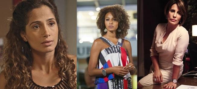 Da esquerda para direita: Regina (Camila Pitanga), Paula (Sheron Menezzes) e Beatriz (Glória Pires) personagens da novela 'Babilônia' da Rede Globo. Imagens: Gshow/Divulgação.