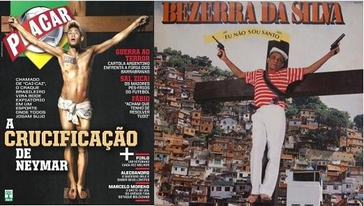 À esquerda, o jogador Neymar na capa da Revista Placar em fevereiro de 2015. À direita, capa do disco 'Eu não sou santo' (1990) de Bezerra da Silva.