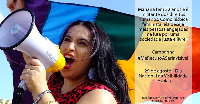 #MeRecusoASerInvisível é uma campanha de visibilidade lésbica do Coletivo LésBitoca em parceria com Canal Mim dá um Real e Núcleo de Pesquisas em Sexualidade - UFT realizada com apoio de LBL-TO, ABL-TO e MUDAS - Movimento Universitário de Diversidade Afetivo Sexual.