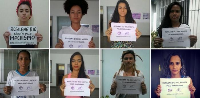 Fotos da Campanha #MulheresContraOFeminicídio da Marcha Mundial das Mulheres – Núcleo MMM Sertão. A estudante Rosilene Rio foi morta a facadas no campus da Univasf em abril de 2015, por seu ex-companheiro.